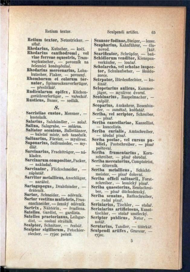 Teil 3 Latein - Deutsch - Böhmisch / von 'Retium textor' bis 'Sculpendi artifex'