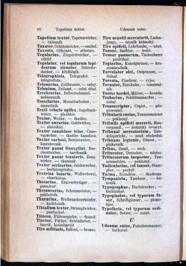 Teil 3 Latein - Deutsch - Böhmisch / von 'Tapetium textor' bis 'Udonum sutor'